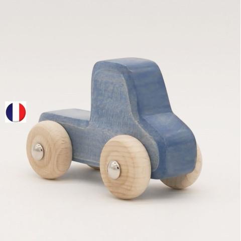 camionnette bleue en bois, jouet écologique et éthique France de atelier des petits bouts de bois