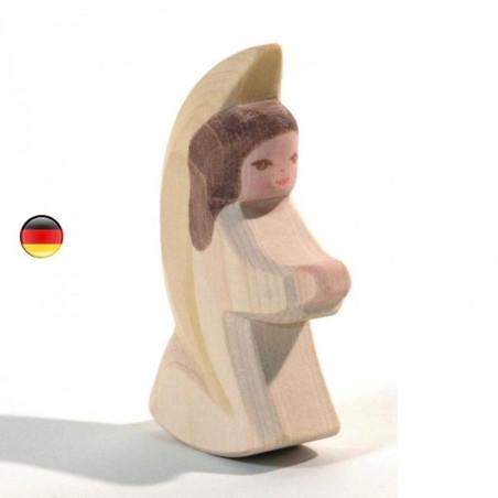 Ange à bascule blanc, figurine en bois