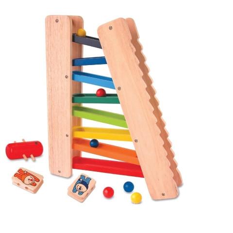 circuit de bille, toboggan echelle 3 en 1, jdecente jouet en bois slope tumbler roller, bartl