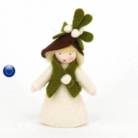 Poupée avec fleur de gui, fée pour table de saison hiver waldorf ambrosius dolls