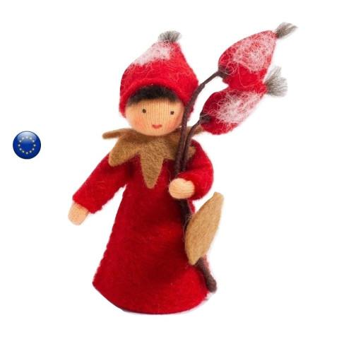Poupée avec fruit eglantier, fée pour table de saison hiver waldorf ambrosius dolls