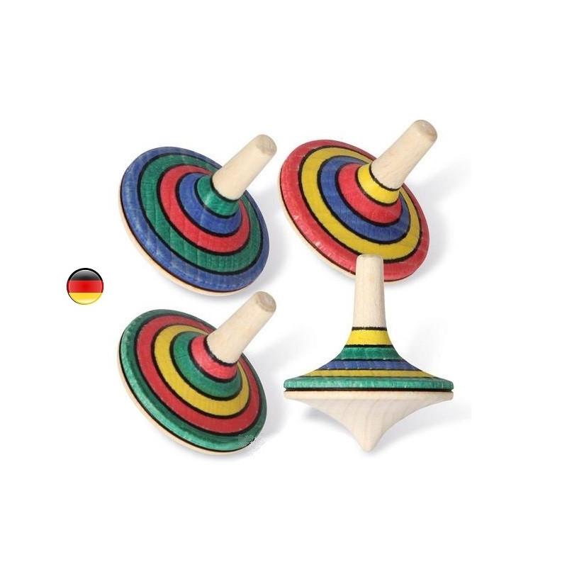 Toupie rallye en bois rayé, jouet en bois ecologique et ethique de bartl