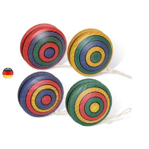 Yoyo, en bois coloré rayé, jouet en bois traditionnel de bartl allemagne