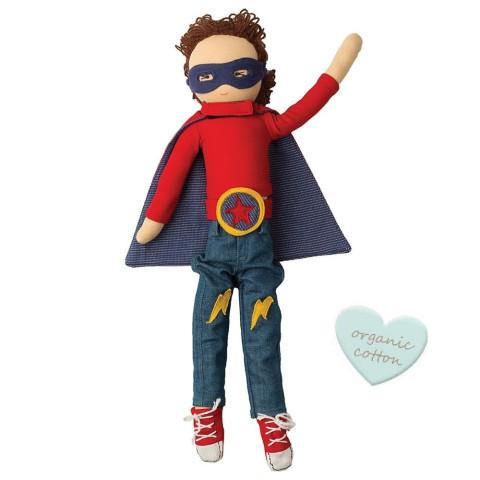 poupée garçon super héros Lewis waldorf, en tissu souple, ecologique et ethique de hoppa à strasbourg