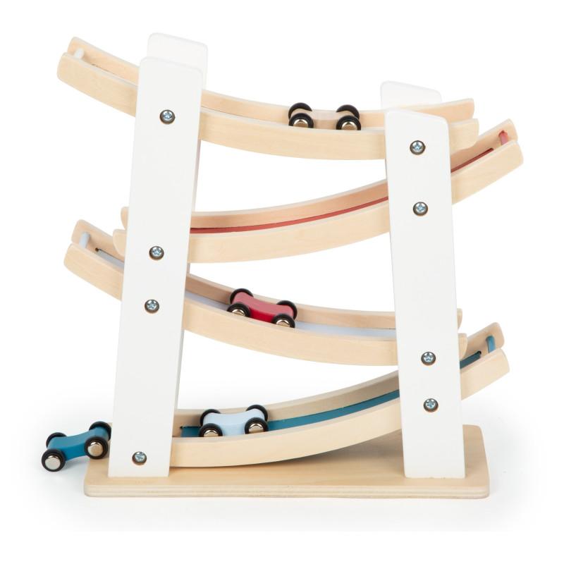 circuit course de voiture, descente jouet en bois legler