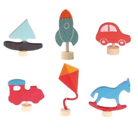 Figurine décorative anniversaire, objet et transport table saison en bois, Grimm's