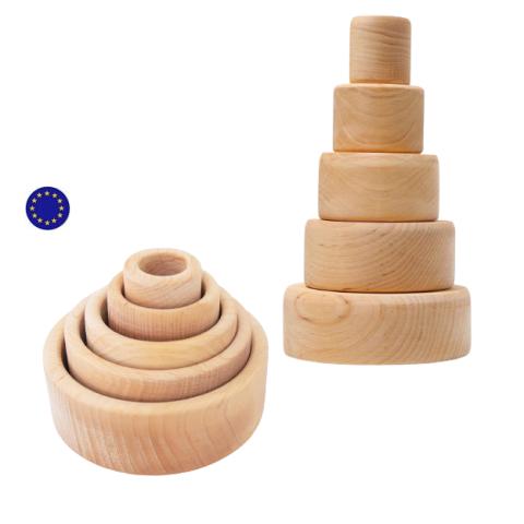 Bols gigognes à empiler naturel, jouet en bois ecologique Grimm's