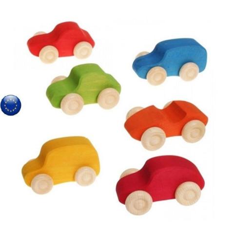 Voitures en bois coloré, lot de 6, jouet en bois ecologique de Grimm's
