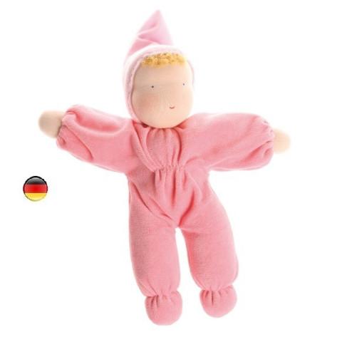Poupon rose, poupée bébé en tissus et laine, jouet naturel waldorf steiner Grimm's