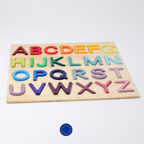 Puzzle alphabet en bois coloré, jouet en bois ecologique de Grimm's