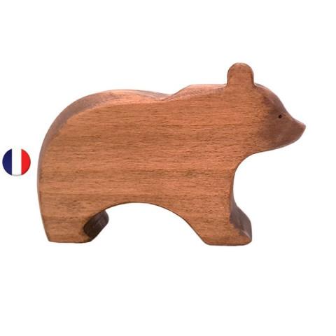 Figurine ours, animal en bois steiner waldorf brin d'ours