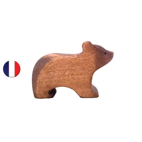 Figurine ourson, animal en bois steiner waldorf brin d'ours