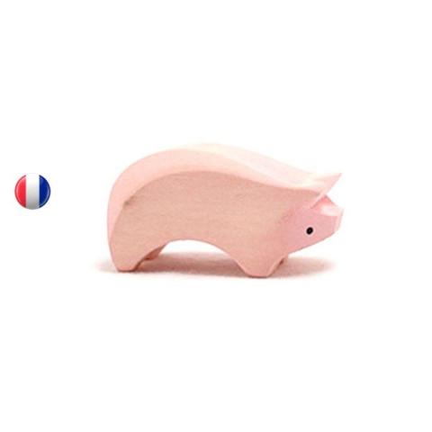 Figurine cochon porcelet , animal en bois steiner waldorf brin d'ours