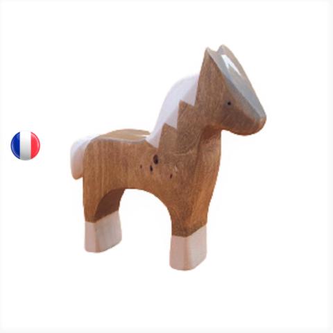 Figurine poulain cheval, animal en bois steiner waldorf de brin d'ours