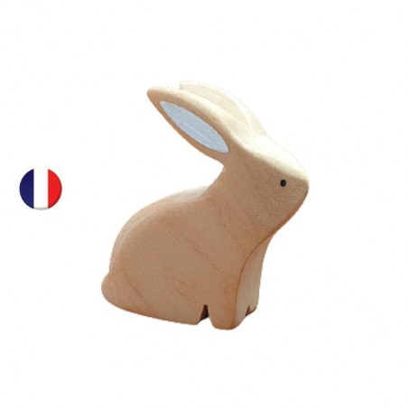 Figurine lapin nature assis, brin d'ours