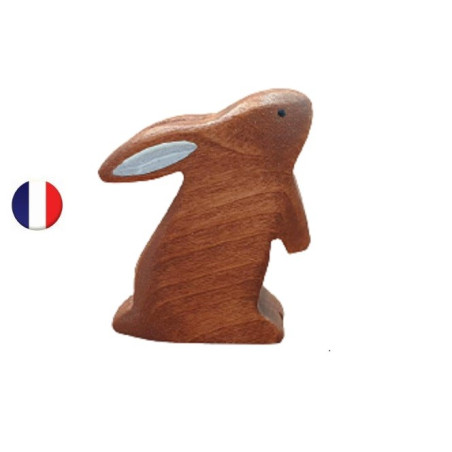 Figurine lapin brun debout, brin d'ours
