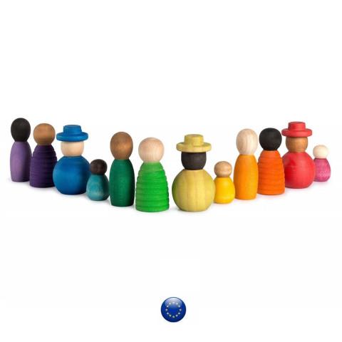 Together, 12 Nins, bonhommes en bois, diversité du monde, jouet en bois steiner waldorf Grapat