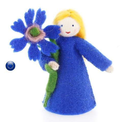 Poupée de saison fleur bleuet, pour table de saion steiner waldorf de ambrosius dolls