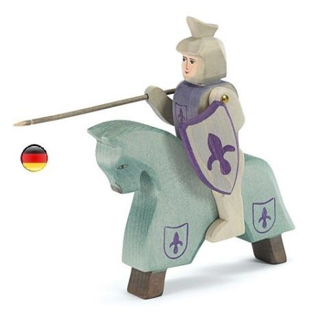 Chevalier bleu et cheval, figurine en bois pour le chateau, jouet en bois waldorf steiner de ostheimer