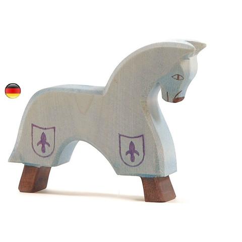 Cheval de tournoi bleu  figurine en bois pour le chateau, jouet en bois waldorf steiner de ostheimer