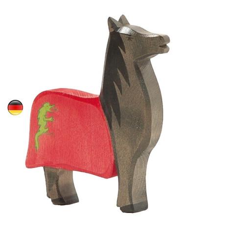 Cheval de tournoi noir figurine en bois pour le chateau, jouet en bois waldorf steiner de ostheimer
