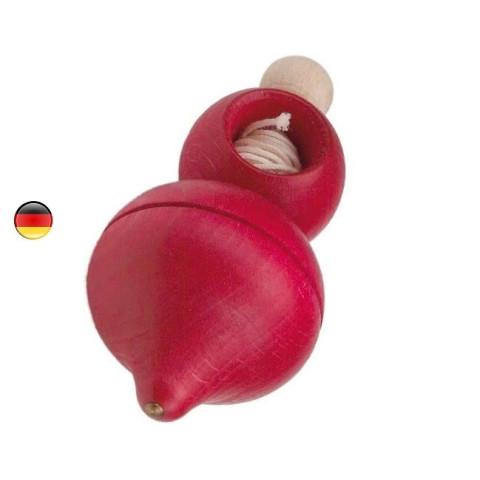 Toupie en bois  à ficelle, jouet en bois ecologique de gluckskafer