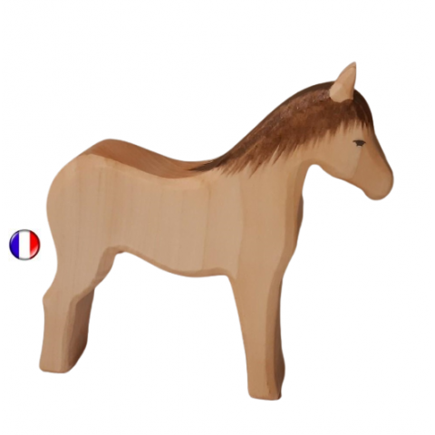 figurine cheval, jouet en bois steiner waldorf,  ecologique et ethique style ostheimer atelier des petits bouts de bois