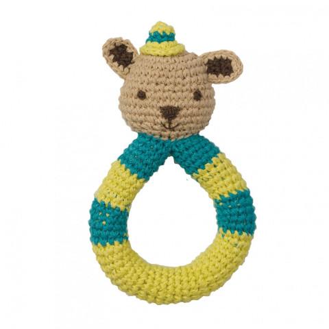 Hochet ours ecureuil squirrel en crochet, coton bio commerce equitable, jouet ecologique et ethique de Hoppa