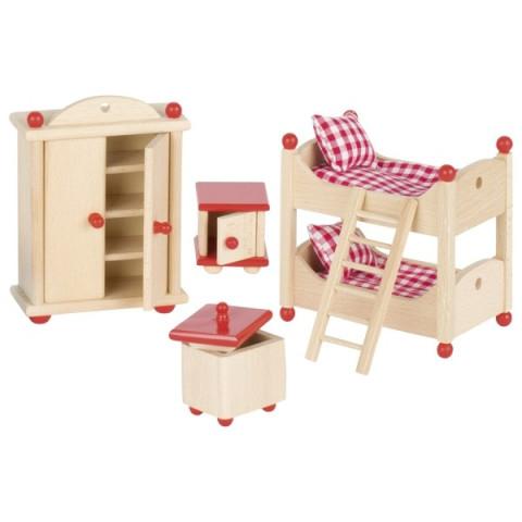 Meubles pour maison de poupée : la chambre des enfants, jouet en bois steiner waldorf de goki