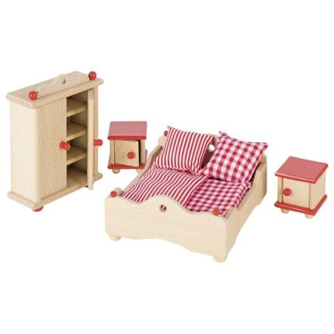 Meubles pour maison de poupée : la chambre des parents, jouet en bois steiner waldorf de goki