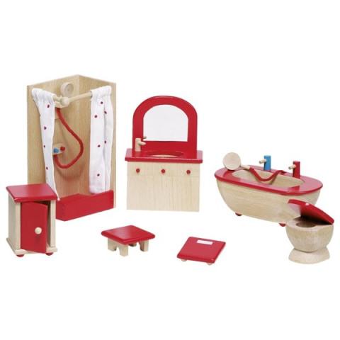 Meubles pour maison de poupée : salle de bains, jouet en bois steiner waldorf de goki