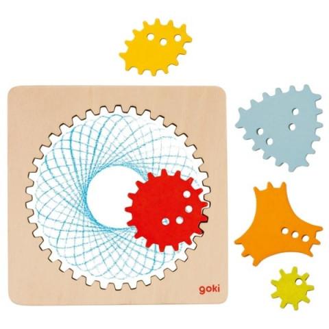 spirographe en bois, jeu de dessin geometrique et mandala de goki
