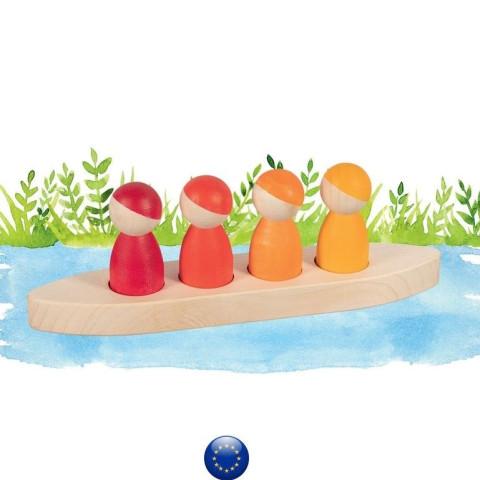 4 amis en bateau, figurines jouet en bois steiner waldorf Goki