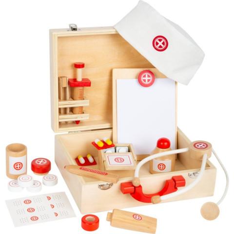 Valise de docteur,  avec stéthoscope, malette jouet en bois de legler