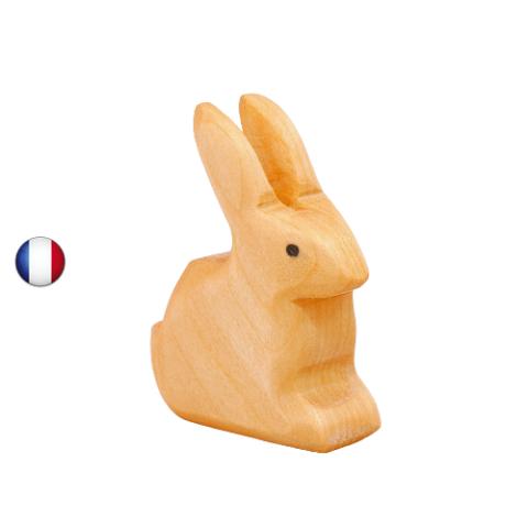 figurine lapin assis, jouet en bois walforf steiner inspiration ostheimer, artisan français