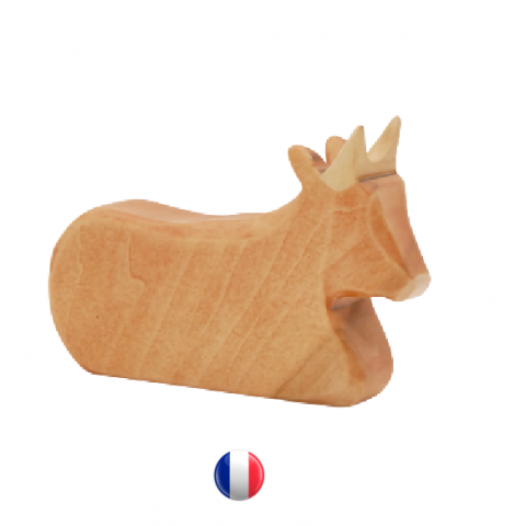 figurine boeuf couché, jouet en bois steiner waldorf,  ecologique et ethique style ostheimer atelier des petits bouts de bois