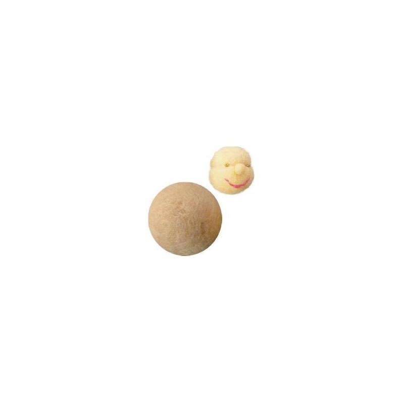 Boule de laine feutree pour tête de poupee waldorf