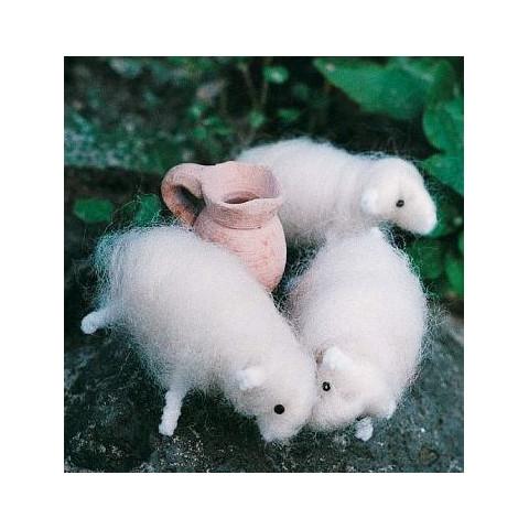 kit 3 moutons en laine feutrée