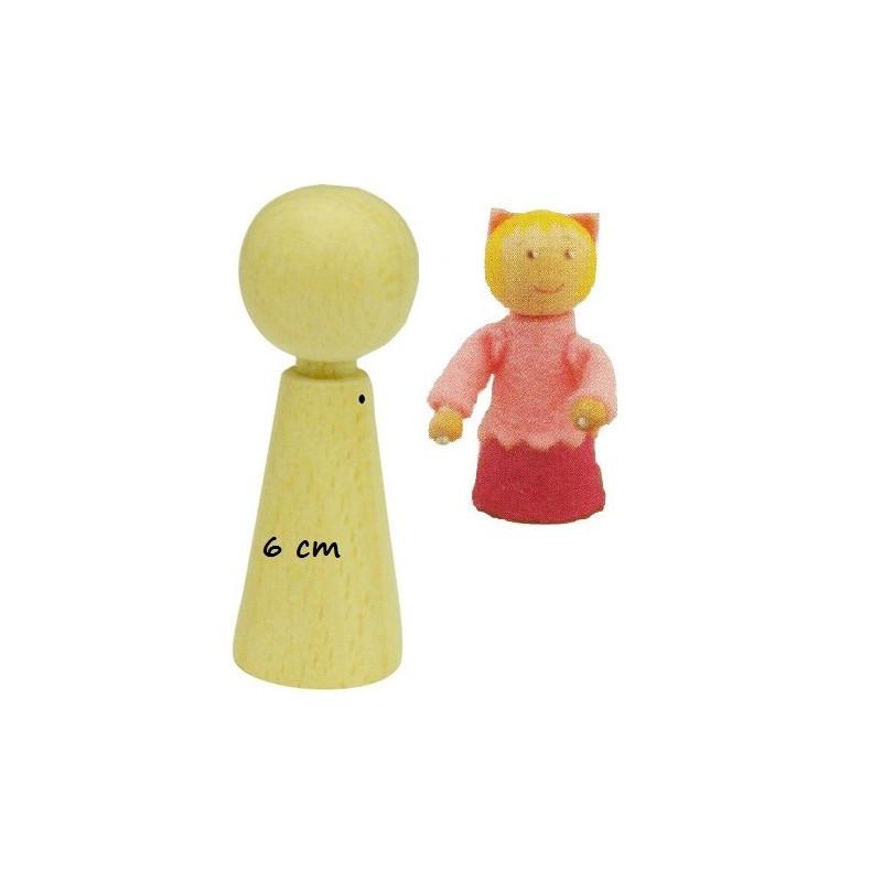 Pion poupée peg doll en bois à decorer, 6cm