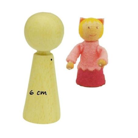 Pion poupée en bois à decorer, 6cm