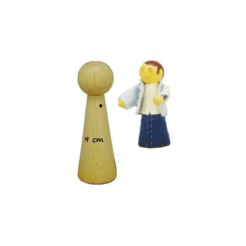 Pion poupée, peg doll en bois à decorer, 9cm