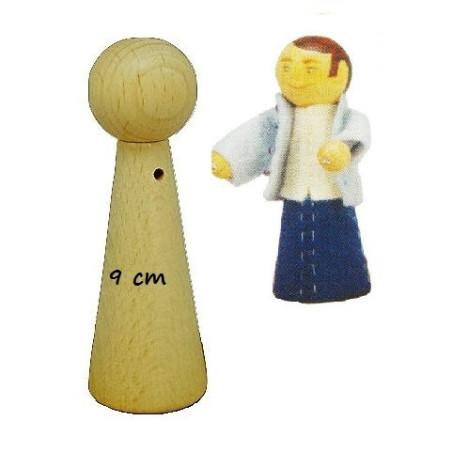 Pion poupée en bois à decorer, 9cm