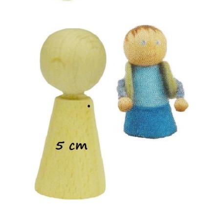 Pion poupée en bois à decorer, 5cm