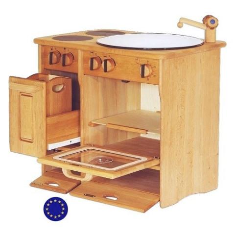 Cuisine complète, cuisinière jouet enfant en bois massif d'europe