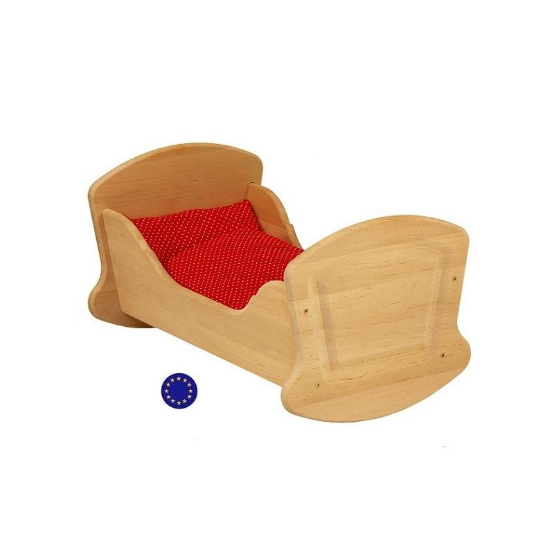 Berceau a bascule, lit de poupée waldorf en bois