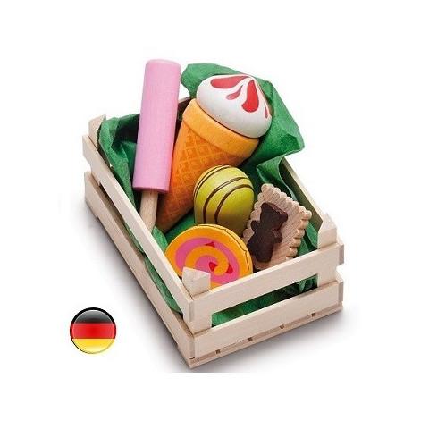 cagette de bonbon et confiserie en bois pour marchande erzi