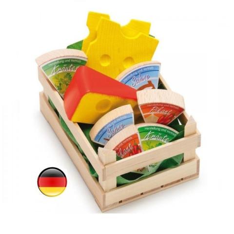 Cagette de fromages en bois pour marchande