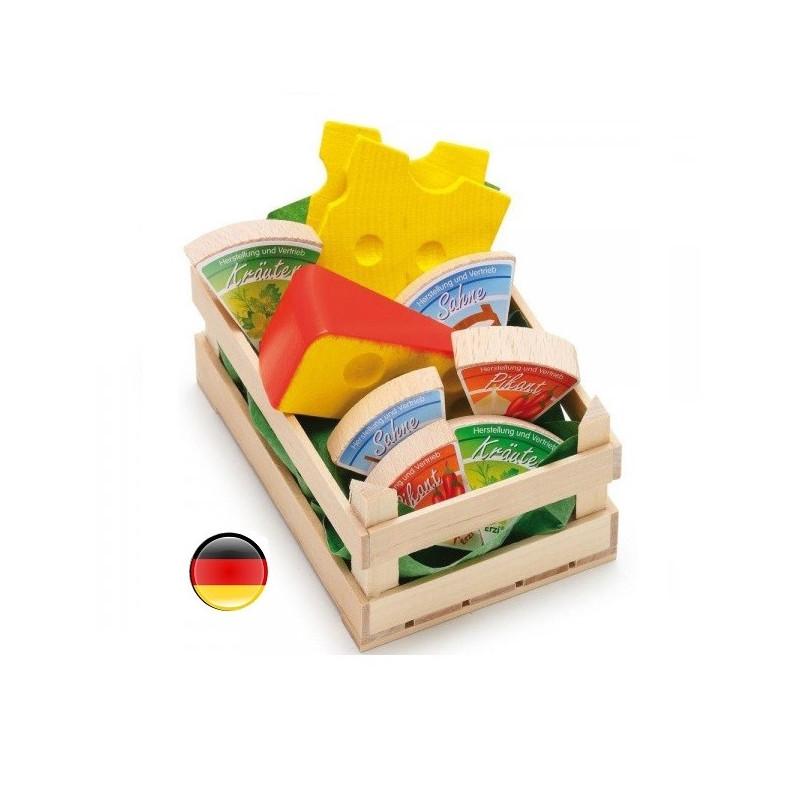 cagette de fromages en bois, jouet de marchande erzi