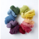 Laine cardée à feutrer Bio Merino teinture vegetale : 12 couleurs 100g de Filges