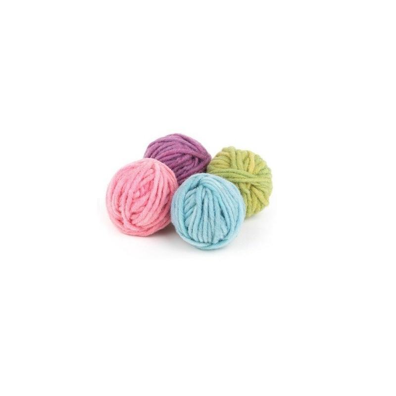 Laine bio, 4 pelotes de tissage et tricot, tons pastels